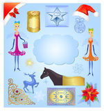 Christmas elements illustration set Royalty Free Stock Photos
