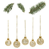 Christmas_Elements. Isolted golden christmas balls and fir twigs Royalty Free Stock Photos