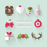 Christmas elements with long shadows. Stock Photography