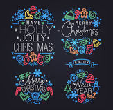 Christmas elements neon Stock Photography