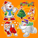 Christmas elements orange. Vector set of colorful cute christmas characters and decorations Royalty Free Stock Photos