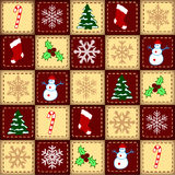 Christmas elements over checked background Royalty Free Stock Photography