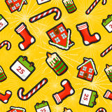 Christmas elements patch icon pattern background Royalty Free Stock Images