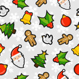 Christmas elements patch icon pattern background Royalty Free Stock Photos