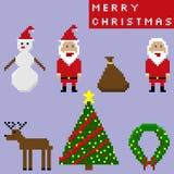 Christmas elements pixel art set.  Stock Photos