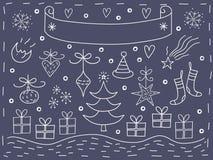 Christmas elements postcard Stock Photos