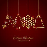Christmas elements on red background Stock Images
