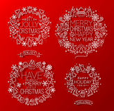 Christmas elements red Stock Images