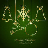 Christmas elements on seamless green background stock illustration