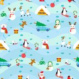 Christmas elements seamless pattern background Stock Images