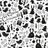 Christmas elements seamless pattern. Christmas doodle design elements seamless pattern, vector Merry Christmas background. Winter holiday pattern, cute childish Royalty Free Stock Image