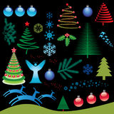 Christmas Elements Set. An illustrated background of a set of various Christmas elements Stock Photo