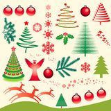 Christmas Elements Set. Illustrated set of various Christmas elements Stock Photos