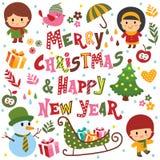 Christmas elements set Stock Images