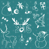 Christmas elements set. Vector icons. Design elements collection. Cartoon objects. Snowmen,deer, pine tree,holly berry, gifts, gar Stock Photo