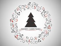 Christmas elements on silver background with christmas tree for wrapping, invitation card or other banners. Vector illustration EP. Christmas elements on silver Royalty Free Stock Photography