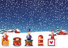 Christmas elements in snow Stock Photo