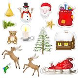 Christmas elements sticker. Over white background Stock Photos