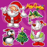 Christmas elements. Vector set of colorful cute christmas characters and decorations Royalty Free Stock Photo