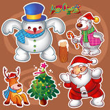 Christmas elements. Vector set of colorful cute christmas characters and decorations Royalty Free Stock Images