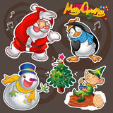 Christmas elements. Vector set of colorful cute christmas characters and decorations Royalty Free Stock Photography