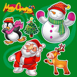 Christmas elements. Vector set of colorful cute christmas characters and decorations Stock Photos