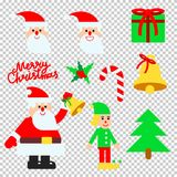 Christmas elements vector set with hand lettering calligraphy Stock Photo