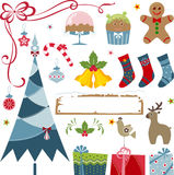 Christmas Elements. Vector Christmas elements - christmas tree, gifts, stockings Royalty Free Stock Photos