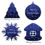 Christmas elements with a winter background inside. Isolated Christmas symbols with winter background on the inside. Vector Royalty Free Stock Photography