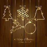 Christmas elements on wooden background Royalty Free Stock Photo