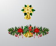 Christmas elements for your designs. Christmas decoration set with evergreen treess pine cones and poinsettia isolated vector vector illustration