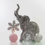 Christmas elephant. With candle Royalty Free Stock Image