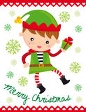 Christmas elf. Illustration of funny christmas elf with gift stock illustration