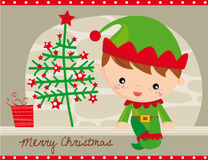 Christmas elf. Card with little  lef and christmas elements Stock Image
