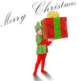 Christmas Elf. Little elf giving christmas presents vector illustration