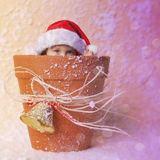 Christmas elf. In pot decoration with bell and snow. The grain and texture added royalty free stock photo