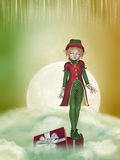 Christmas elf. In the sky with a box stock photography