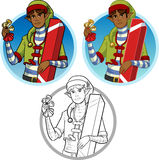 Christmas elf African American boy with gift set Stock Photo