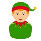 Christmas Elf Avatar Flat Icon on White Stock Image