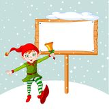 Christmas Elf & billboard Stock Photography