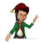 Christmas Elf on Border Stock Photography
