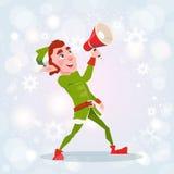 Christmas Elf Boy Cartoon Character Santa Helper Hold Megaphone Loudspeaker Stock Photos
