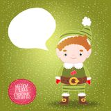 Christmas elf with bubble speech background Stock Photos
