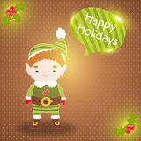 Christmas elf with bubble speech background Royalty Free Stock Photography