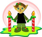 Christmas Elf with Candles Stock Photos