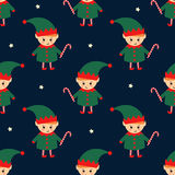 Christmas elf with candy cane seamless pattern Royalty Free Stock Images