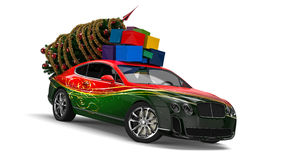 Christmas Elf car royalty free illustration