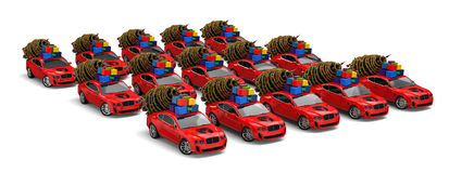 Christmas Elf Car fleet Royalty Free Stock Photography