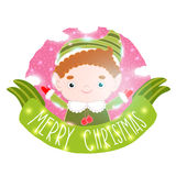 Christmas elf card with ribbon. Holiday vector illustration Stock Image