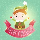 Christmas elf card with ribbon. Holiday vector illustration Stock Photos